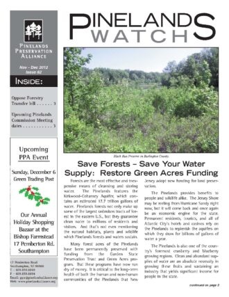 Front page Pinelands Watch 62