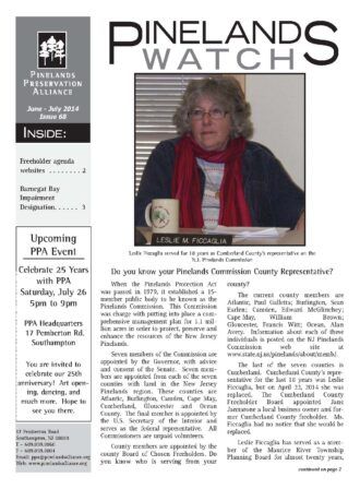 Pinelands Watch #68, front page