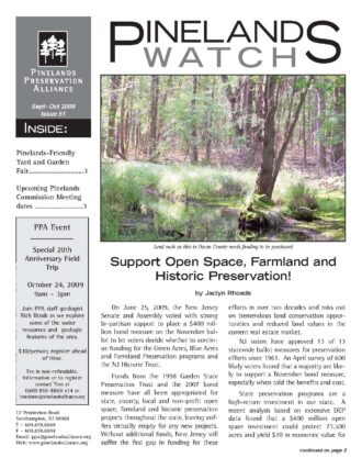 Pinelands Watch Issue 51 Frontpage