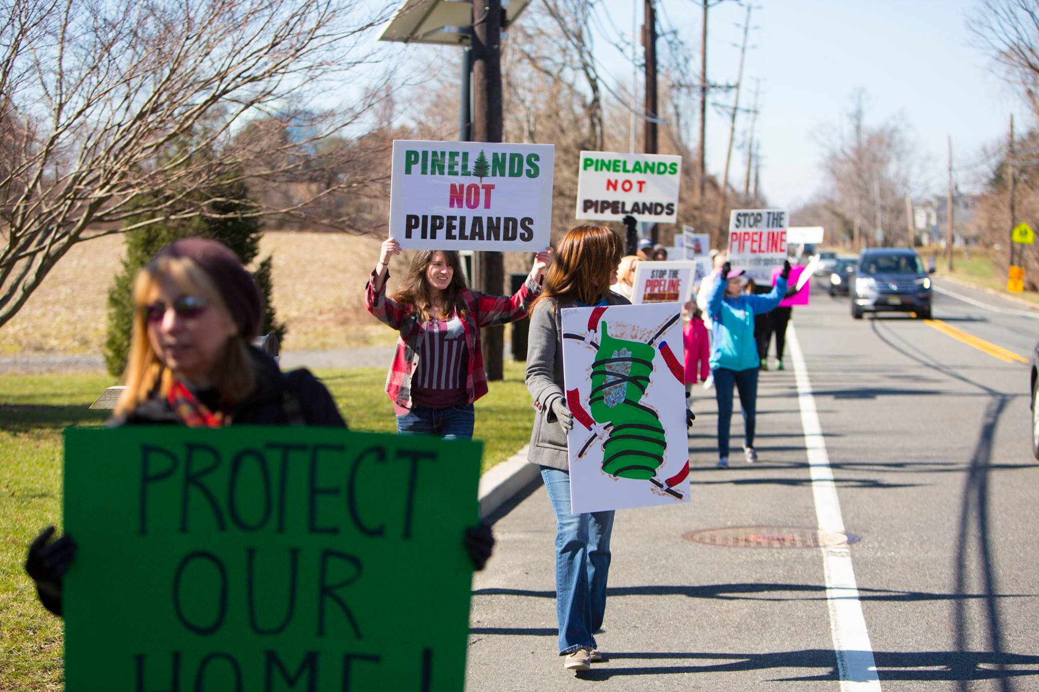 Citizens protesting gas pipelines in the new jersey pine barrens pinelands