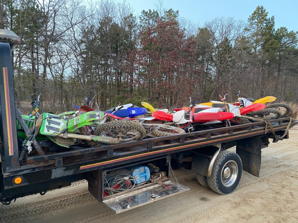 Impounded ORVs at Winslow WMA 2-9-20             Photo: Winslow Township Police Department