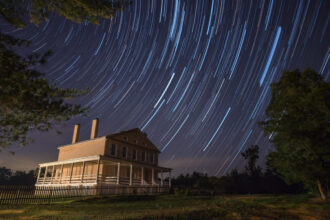 Star Trails at Atsion Mansion by Douglas Heusser