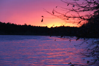 Sunset over Atsion Lake by Monica Hollenbeck