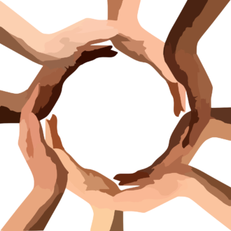 multicultural hands form circle