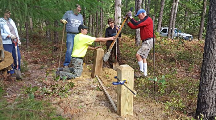 PPA Land Protectors work with NJ State Park's staff to install barriers to prevent motor vehicles from damaging critical habitat.